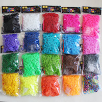 Wholesale Loom Wholesale - Better Quality 20 Styles Loom Bands Looms Colar DIY Rubber Bands Loom Bracelets (600 bands + 24 clips+1 hook)) On Stock