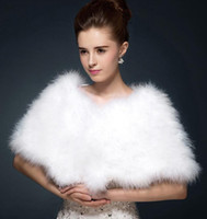 Wholesale white fur cloak wedding - Luxurious Ostrich Feather Bridal Shawl Fur Wraps Marriage Shrug Coat Bride Winter Wedding Party Boleros Jacket Cloak White Khaki 100*30 cm