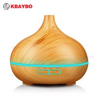 Wholesale air source - Kbaybo 300ml Air Humidifier Essential Oil Diffuser Wood Grain Aromatherapy Diffusers Aroma Mist Maker 24v Led Light For Home