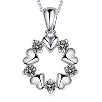 Wholesale Heart Necklace Charms - Wholesale 925 Sterling Silver Necklace Sterling Silver Crystal Pendant Necklace female flowers and short necklace silver jewelry