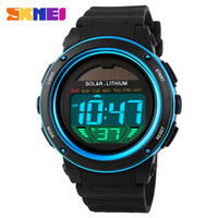 Wholesale Men Watches Solar Powered - Skmei Solar Digital Men Watches1096 5ATM Waterproof Quartz Power LED Sports women Outdoor Wristwatches relogio masculino watch