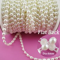 Wholesale Half Pearls Wholesale - Wholesale-6mm Pearl 25m roll New Craft Beads Pearls Sew On Perolas Para Artesanato 5 Color ABS Half Round Flatback Trim For Bride Dress