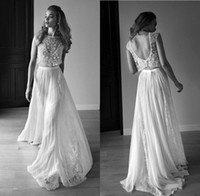 Wholesale Spaghetti Strap Skirt Top - 2016 Gorgeous Wedding Dresses Two Pieces Jewel Neck Beaded Top Lace Chiffon Beach Backless Bridal Gowns BO8005