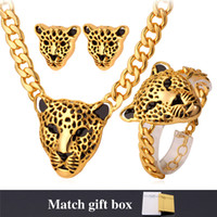 Wholesale Lion Silver Necklace - U7 Africa Jewelry Cool Lion Head Choker Necklace Bracelet for Women Men 18K Gold Platinum Plated Punk Jewelry Sets Medusa Jewellery NEH727