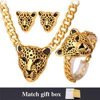 gargantilla león al por mayor-U7 Africa Jewelry Cool Lion Head Gargantilla Collar Pulsera para Mujeres / Hombres 18 K Oro / Platino Plateado Juegos de Joyas Punk Medusa Joyería NEH727
