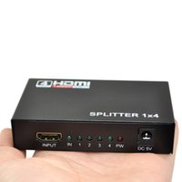 Wholesale Hdmi 1x4 Ports - HDCP Full HD HDMI Splitter 1X4 4 Port Hub Repeater Amplifier v1.4 3D 1080p 1 in 4 out with Power Supply