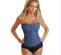 Wholesale Worn Out Jeans - Jeans Corselet Plus Size Women Clothing S~6XL Sexy Blue Denim Corset With Lace Thong Corset Tops To Wear Out