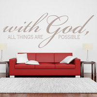 Wholesale God Piece - With God All Things Are Possible Quote Wall Sticker Religious Vinyl Wall Art for Room Decor