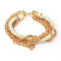 Wholesale Chain Wholesale Girls Dresses - 18K Gold Plating Charms Bracelets Link Chains Braided Friendship Bracelet Fashion Girls Accessories Lady Party Dress Christmas Bracelets