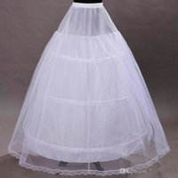 Wholesale Trumpet Hoop Skirt - Free Shipping 2016 Hot Sale A Line Bridal Crinoline Petticoat Skirt 3 Hoop Petticoat White Underskirts For Wedding Dress Wedding Accessories