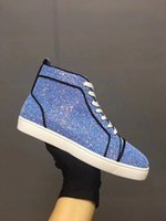 Nouveau Style Paillettes En Cuir Sneaker Femmes, Hommes Haut Haut Mode Rouge Bottom Chaussures Discount Pas Cher Partie Dress En Plein Air Occasionnel Marche Appartements