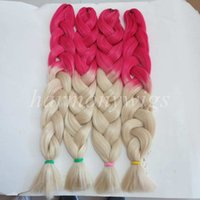 Wholesale blonde synthetic hair weave for sale - Kanekalon Jumbo Braid Hair inch grams Red Blonde Ombre two tone color xpression synthetic braiding hair extension in stock