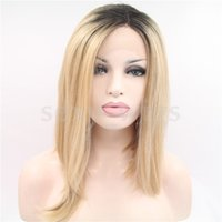 Wholesale Cheapest Straight Synthetic Lace Front - Cheapest Wigs Straight Ombre Blonde Color Heat Resistant Wig Synthetic Lace Front Wig #Color & Style# As the Picture Show Free Shipping