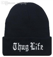 Wholesale Black Letter Hat for Men THUG LIFE Wool Knitted Hats Male Female Winter Sport Skullies and Beanies Women Casual Hats Caps M0517