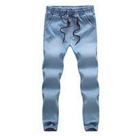 Wholesale Medium Length Coats - New 2017 Mens trousers Casual Length Straight Loose Fit Harlan Pants cowboy feet Male Denim Jeans M-5XL