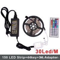 Wholesale 36w 12v Led Power Supply - 5M 150Led SMD 5050 LED Strip RGB Cool Warm White+12V 3A Power Adapter Supply,44Key IR Remote Controller only for RGB Strip Light