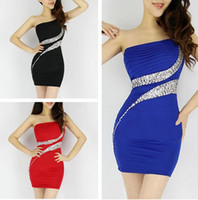 Wholesale Clubwear Backless Gown - Sexy Royal Blue Short Party Dresses One Shoulder Sheath Gowns Clubwear Mini Party Dresses Little Black Dress Party Bodycon Club Dress