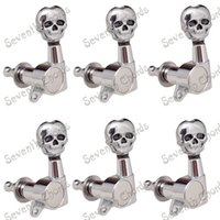 Wholesale Left Handed Chrome - A Set of 6L Inline Chrome Guitar Tuning Pegs Tuners Machine Heads for Left handed Electric Guitar. - 16.5mm Skull Buttons