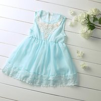 Wholesale Childrens Casual Wear - Pettigirl 2016 Girls Summer Dresses Appliqued Floral Casual Toddler Knee-Length Wear Blue Chiffon Childrens Everyday Clothing GD50312-19