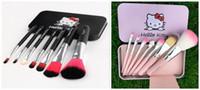 Wholesale brushes black iron online - Hello Kitty Make Up Cosmetic Brush Kit Hello kitty Makeup Brushes Pink and black Iron Case set DHL
