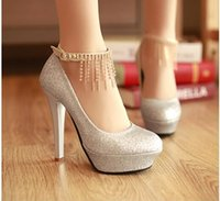 Wholesale Chain Ankle Strap High Heel - 2016 New Free Shipping Fashion Rhinestone Sequins Wedding Shoes Women High Heels Bridal Evening Prom Party Bridesmaid Shoes Silver Red Gold