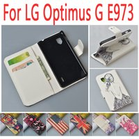 Wholesale E973 Case - Wholesale-High Quality Wallet with Stand Leather Flip Case For LG Optimus G E973 E975 F180 Cover With Card Holder,