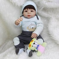 Wholesale Silicon Baby Dolls - 2017 New Hot Sale Lifelike Reborn Baby Doll Full Silicone New Baby Toys Monkey Pattern coat boy Gift Silicon Reborn Dolls Babies