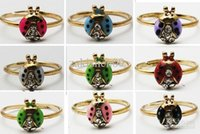 Wholesale Ladybird Ring - 12PX(1pack) Free shipping Ladybug Ladybird Crystal Toe Ring Ring Mixed Color Wholesale Lot