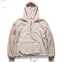 sudaderas con capucha urbanas al por mayor-Sudaderas con capucha Mens Half Zipper Pullover Fleece Sherpa Hoodies Streetwear Cool Kanye West Moda Hiphop Urban Clothes sudaderas con capucha