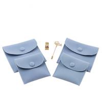 ingrosso buste di gioielli-Busta di imballaggio di gioielli regalo con chiusura a scatto Custodia di stoccaggio di gioielli resistente a polvere in velluto bifacciale con colori assortiti