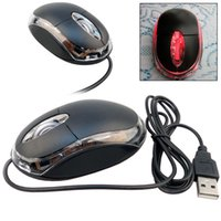 Wholesale Tiny Laptops - Wholesale-New 1.1m Tiny USB 2.0 3D Optical Scroll Wheel Mouse Mice For Pc Laptop Black Color Drop Shipping CEA-0079-BK