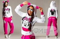 Wholesale Knit Minnie Mouse - 2015 Autumn Spring Minnie Mouse Printed Sport Suit Tracksuits Women Cartoon Sweatshirt Set Girls Hoodies And Pants Dropship S-XL