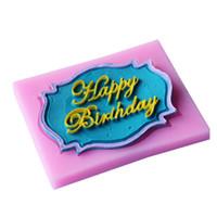 feliz cumpleaños molde de pastel de silicona al por mayor-Al por mayor-1pcs feliz cumpleaños de silicona Fondant Cake Moldes Fondant Decoration jabón del molde del chocolate para la cocina herramienta de la torta para hornear
