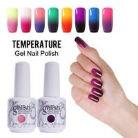 Wholesale Led Color Changing Nail Polish - Fashion 48 Color Changing Gel Nail Polish Gelish Nail Art Soak Off UV LED Lamp Temperature Gel 24Pcs Lot