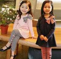 Wholesale Girls Navy Stripe Suits - Spring Girls Two-piece Clothing Set Bowknot Cotton Tops T-shirt Stripe Pants Kids Suit 2pcs Set Children Outfits Set Pink Navy 952