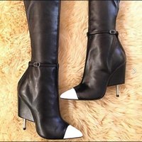 Wholesale sexy longs lace up boots resale online - Long Boots Women Stiletto Heels Mixcolor Pointed toe Sexy T Show Evening Party Boots Genuine leather Big Size Thigh High Boots