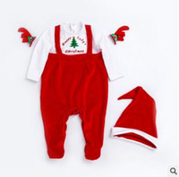 Wholesale Toddler Boys Party Clothes - Christmas Infant Xmas Santa Claus Costume Boys Girls Red Long Sleeve Rompers Autumn Winter Unisex Newborn Toddler Christmas Party Clothing