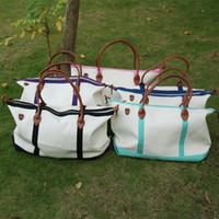 Wholesale Weekend Bags Women - Wholesale Blanks Exrta Large Capacity Travel Duffle Zipper Closure Metal Handle Luggage Bags canvas weekend bag DOM103148