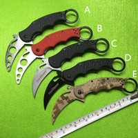 Wholesale Fox Style - 5 Styles Fox Claw Karambit Training Folding blade G10 Handle Outdoor gear EDC Pocket Tactical knife hunting camping knive