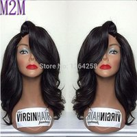 Wholesale Long Straight Hair Side Parting - Lace Front Human Hair Wig Body Wave For Black Women Glueless Front Lace Wig Wavy Brazilian Virgin Hair With Side Part FREESHIP