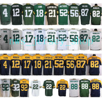 Wholesale Aaron Rodgers Jersey Football - Hot Sale Mens 18 Randall Cobb 12 Aaron Rodgers Jersey Cheap Green White Navy Blue 52 Clay Matthews 87 Jordy Nelson Throwback Jerseys