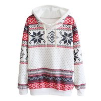 Wholesale womens christmas knit sweaters - Wholesale-New Jumpers Womens Fashion Women Snowflake Print Long Sleeve Pullover Knitted Sweater Female Christmas Sweaters