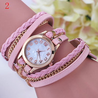 Wholesale Vintage Wrist Bands - DHL 2015 New Fashion Vintage Colorful Multilayer Faux Leather Strap Band Wrap Women Bracelet Quartz Wrist Watch Female