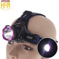 Led Headlamp Leghe di alluminio Headlight Long Shots Fari Farfalla a batteria per Camping Escursionismo Arrampicata Viola