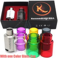 Wholesale 3mm Tube - KENNEDY 22 RDA with Extra Pyrex Glass Tube Kit Dripper Atomizers Wide Bore Drip Tip 3mm Post Holes Vaporizer PEEK Insulator Box Mods RBA DHL