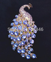 Wholesale Large Peacock Plate - 4.3 Inch Gold Plated Extra Large Lilac Rhinestone Crystal Diamante Peacock or Phoenix Brooch without Pin
