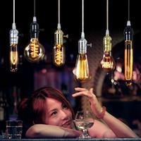 Wholesale carbon filament bulb e27 online - 2015 NEW Edison Chandelier Bulb Antique Bulb Aka Carbon Filament Lamp Silk Bulb Antique Light Edison Light Bulb Incandescent Bulbs by DHL