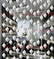 Wholesale Hanging Glass Curtains - 5 strands lot Glass Crystal beads curtain Window Door Kitchen hanging curtain wedding backdrop free shipping