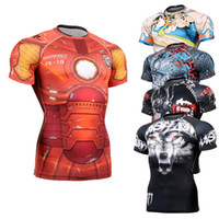 Wholesale Mma Skin - Mens Compression Shirts Bodybuilding Skin Tight Short Sleeve Jerseys Clothings MMA Crossfit GYM Weight WorLifting Running Shirt SJ007