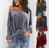 Wholesale velvet fashion blouse - Sexy Off Shoulder Blouse Shirt Spring Autumn Long Sleeve Solid Color Tunic Shirt Velvet Tops Camisas Mujer